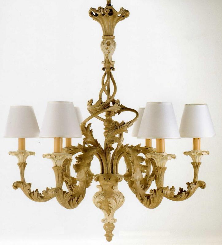 Lampadario 6 luci legno finitura tortora e bianco